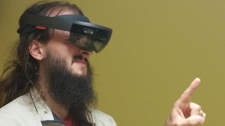 HoloLens playing RoboRaid