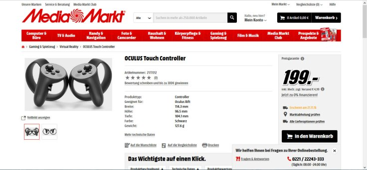 Oculus Touch price leaked