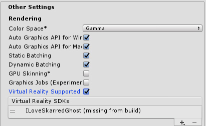 How to change Virtual Reality SDKs list in Unity Build