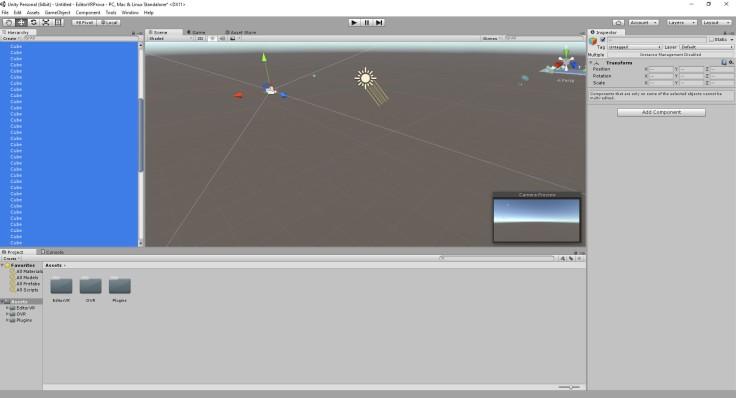 Unity VR game engine