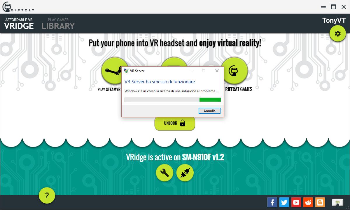 VRidge VRserver stopped working